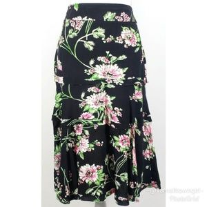 CAbi floral tiered raw edge hem skirt 10